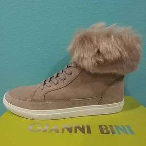 Gianni Bini Lainden Suede Faux Fur Trim Sneakers